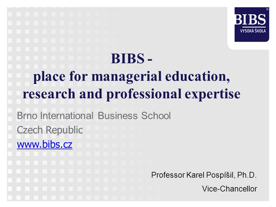 Czech Higher Education System Public, state and private universities – Over 40 private universities accredited by the Czech ministry of education – 29 public and state universities In private universities segment BIBS in TOP 7 according to number of students B.I.B.S., a.s., Lidická 960/81, 602 00 Brno, Czech Republic, Tel: +420 545 210 792, info@bibs.cz, www.bibs.cz 2