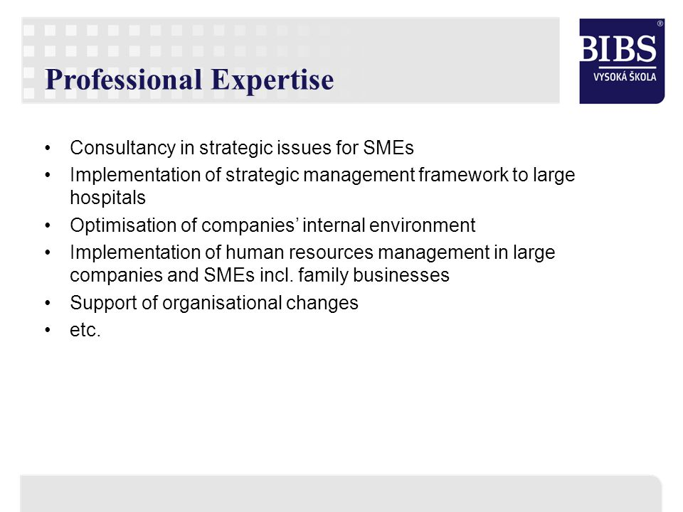Professional Expertise Consultancy in strategic issues for SMEs Implementation of strategic management framework to large hospitals Optimisation of co