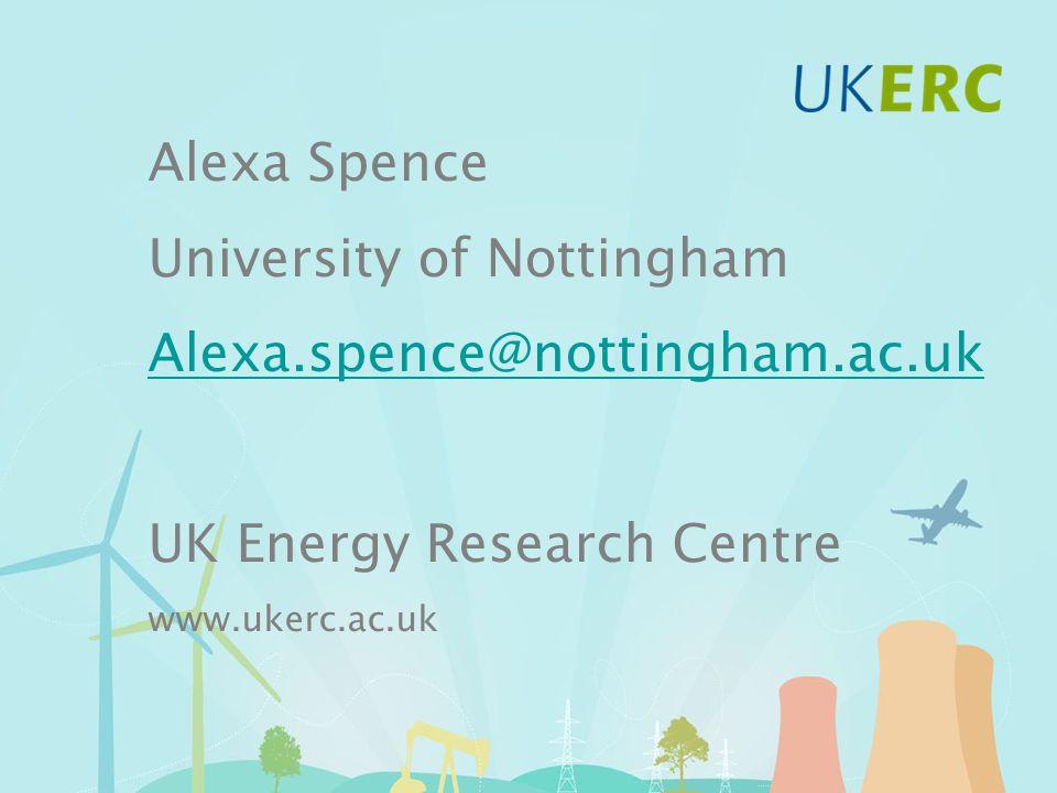 Alexa Spence University of Nottingham Alexa.spence@nottingham.ac.uk UK Energy Research Centre www.ukerc.ac.uk