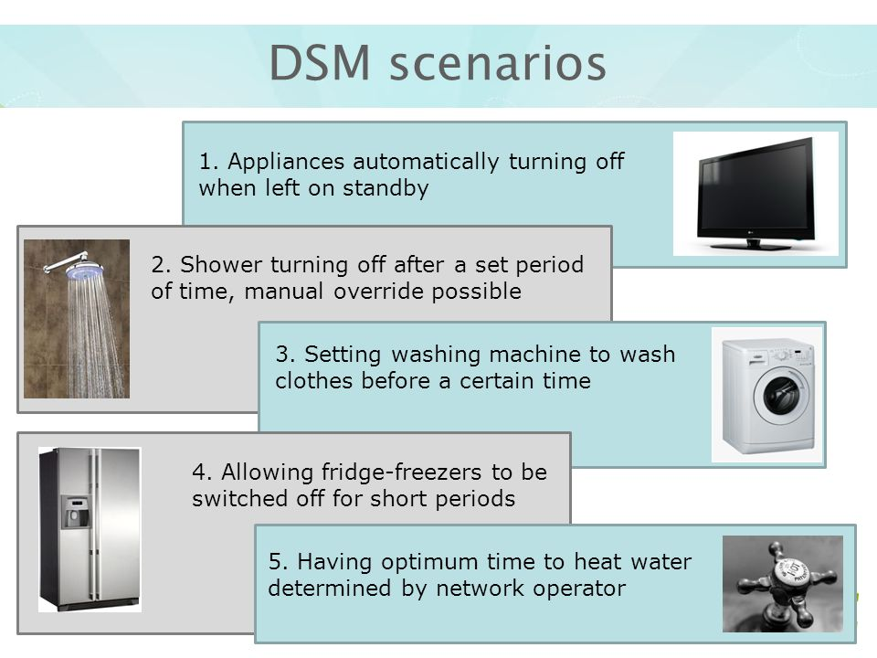 DSM scenarios 1.Appliances automatically turning off when left on standby 2.