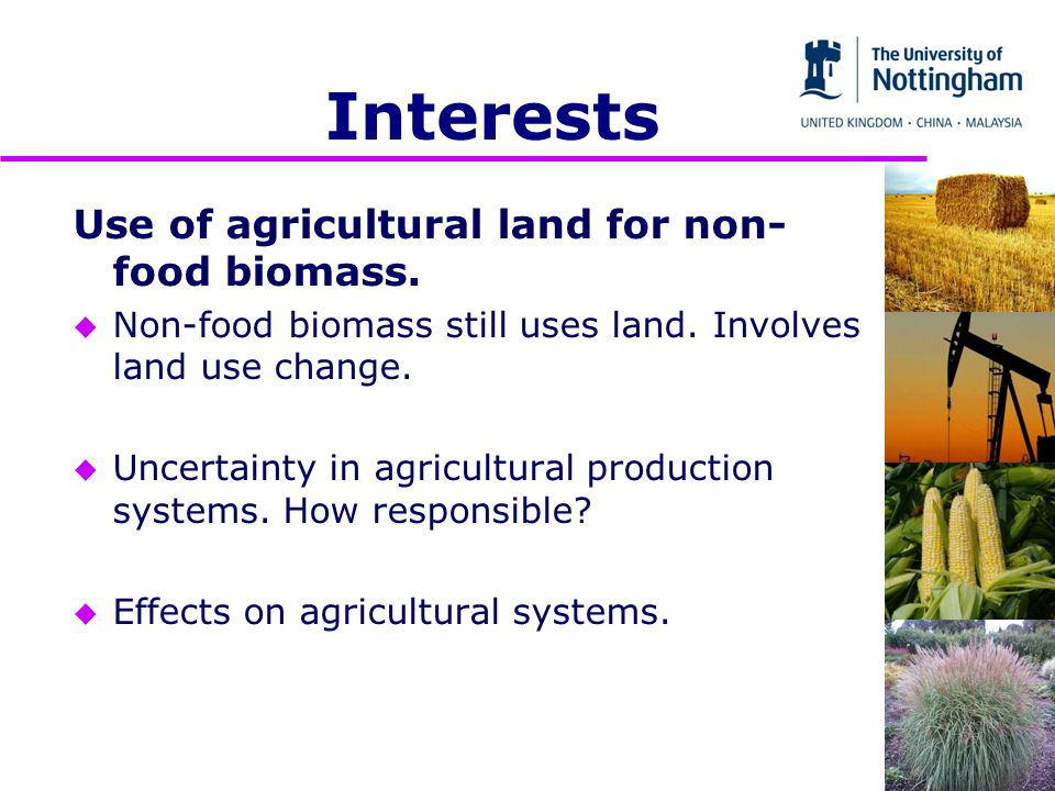 Interests Use of agricultural land for non- food biomass.