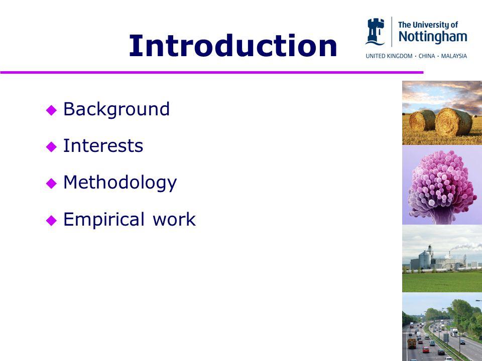 u Background u Interests u Methodology u Empirical work Introduction