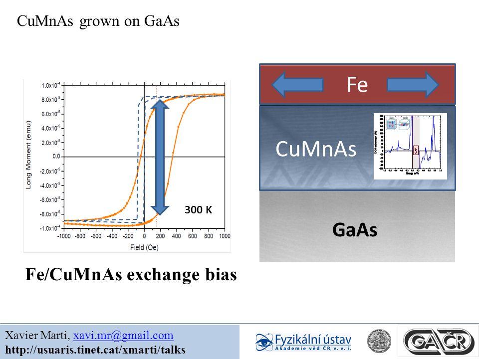 GaAs CuMnAs Fe CuMnAs grown on GaAs Xavier Marti, xavi.mr@gmail.comxavi.mr@gmail.com http://usuaris.tinet.cat/xmarti/talks 300 K Fe/CuMnAs exchange bias