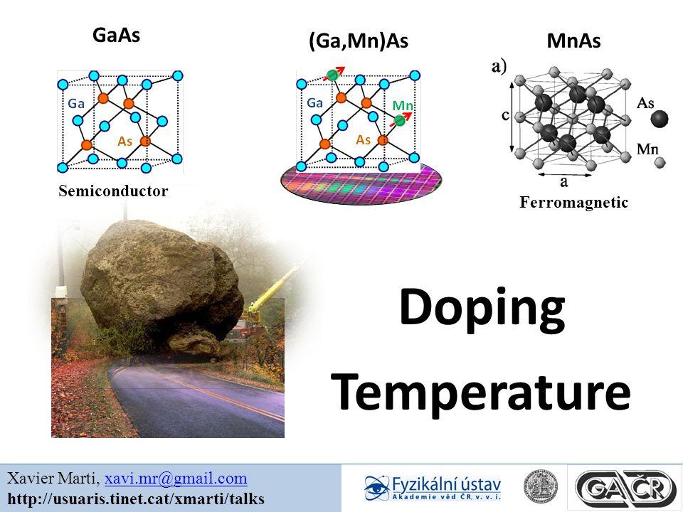 Doping Temperature Xavier Marti, xavi.mr@gmail.comxavi.mr@gmail.com http://usuaris.tinet.cat/xmarti/talks GaAs (Ga,Mn)AsMnAs Ferromagnetic Semiconductor