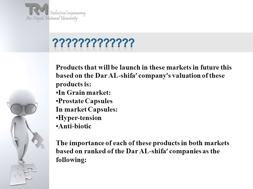 Products that will be launch in these markets in future this based on the Dar AL-shifa ' company s valuation of these products is: In Grain market: Prostate Capsules In market Capsules: Hyper-tension Anti-biotic The importance of each of these products in both markets based on ranked of the Dar AL-shifa ' companies as the following: