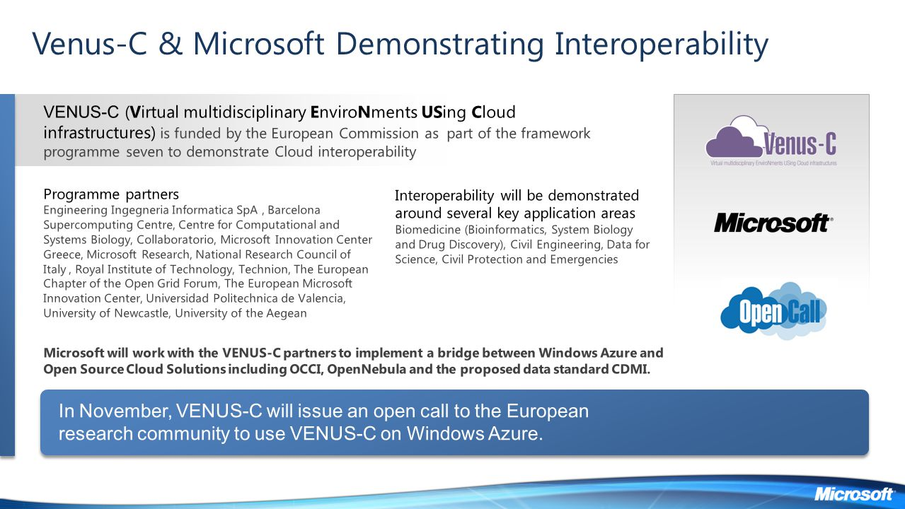 Venus-C & Microsoft Demonstrating Interoperability