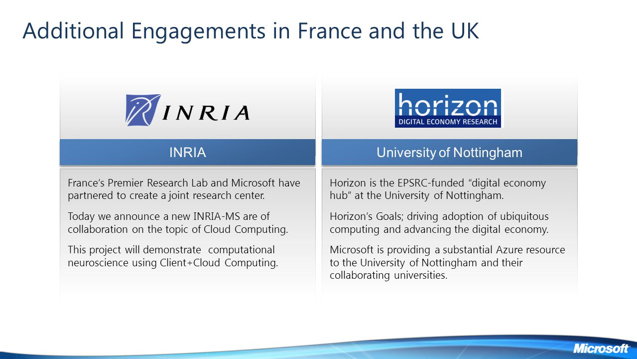 Additional Engagements in France and the UK France's Premier Research Lab and Microsoft have partnered to create a joint research center. Today we ann