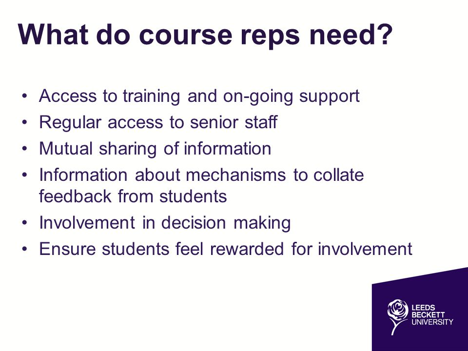 What do course reps need? Access to training and on-going support Regular access to senior staff Mutual sharing of information Information about mecha
