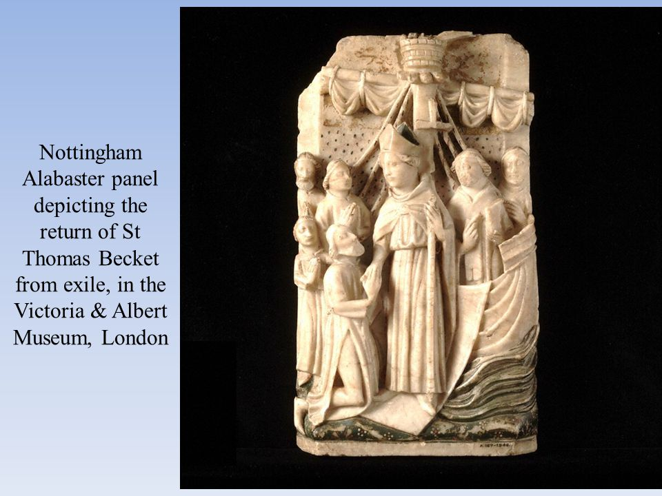 Nottingham Alabaster panel depicting the return of St Thomas Becket from exile, in the Victoria & Albert Museum, London