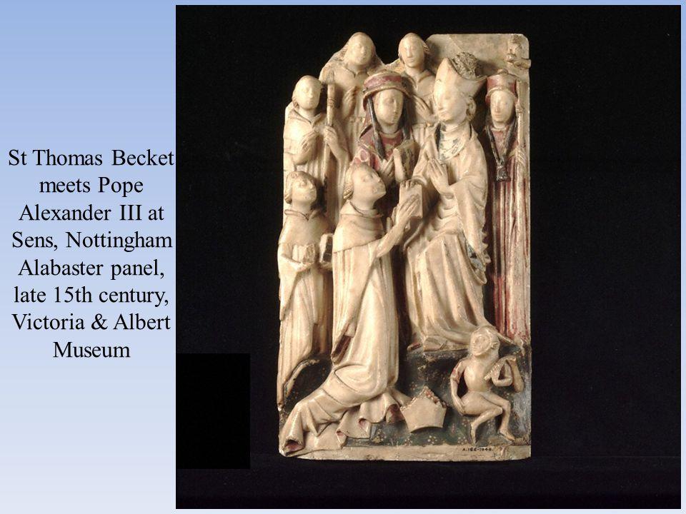 St Thomas Becket meets Pope Alexander III at Sens, Nottingham Alabaster panel, late 15th century, Victoria & Albert Museum