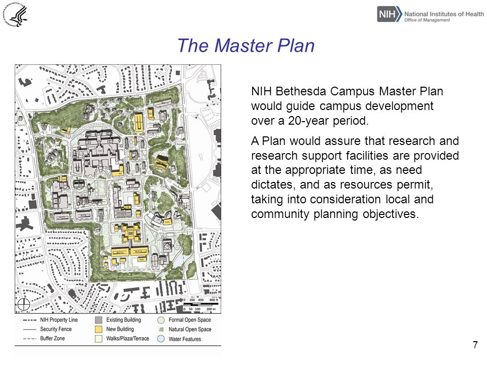 7 The Master Plan NIH Bethesda Campus Master Plan would guide campus development over a 20-year period.