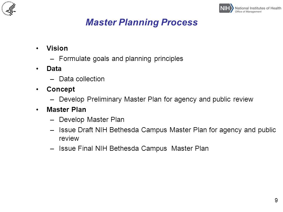 Master Planning Process Vision –Formulate goals and planning principles Data –Data collection Concept –Develop Preliminary Master Plan for agency and public review Master Plan –Develop Master Plan –Issue Draft NIH Bethesda Campus Master Plan for agency and public review –Issue Final NIH Bethesda Campus Master Plan 9