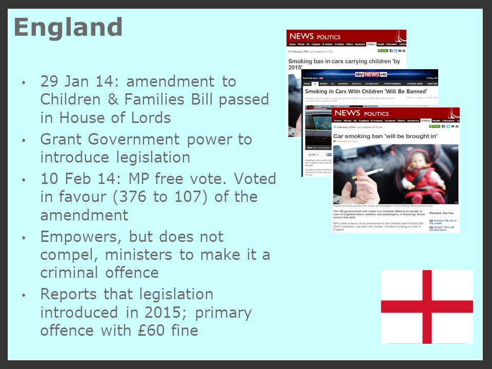 England 29 Jan 14: amendment to Children & Families Bill passed in House of Lords Grant Government power to introduce legislation 10 Feb 14: MP free vote.