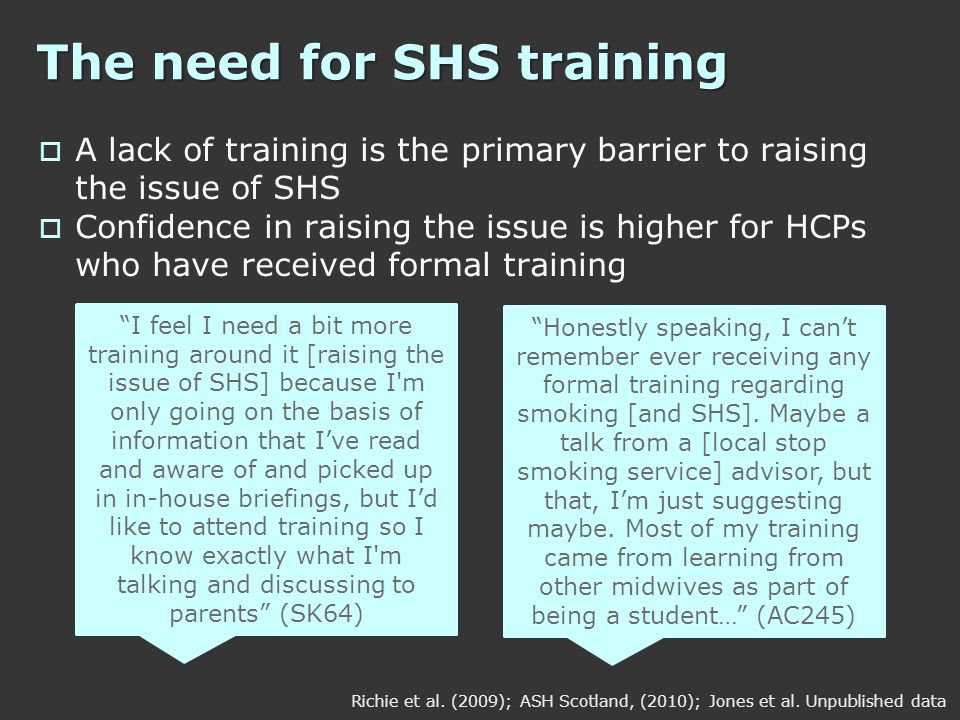 The need for SHS training  A lack of training is the primary barrier to raising the issue of SHS  Confidence in raising the issue is higher for HCPs who have received formal training Richie et al.
