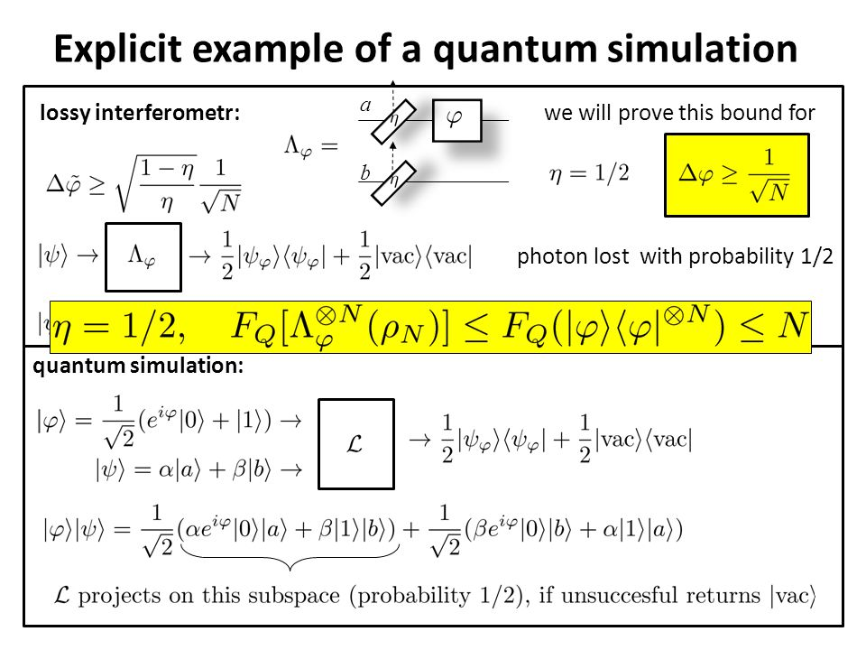 Explicit example of a quantum simulation photon lost with probability 1/2we will prove this bound forlossy interferometr: a b quantum simulation: