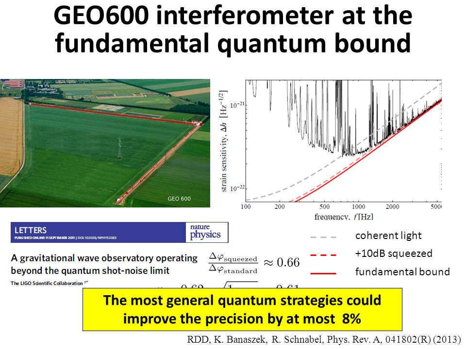 GEO600 interferometer at the fundamental quantum bound +10dB squeezed coherent light fundamental bound RDD, K.