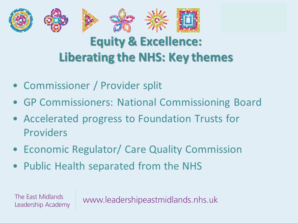 Equity & Excellence: Liberating the NHS: Key themes Commissioner / Provider split GP Commissioners: National Commissioning Board Accelerated progress to Foundation Trusts for Providers Economic Regulator/ Care Quality Commission Public Health separated from the NHS