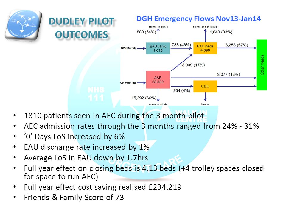 DUDLEY PILOT OUTCOMES 1810 patients seen in AEC during the 3 month pilot AEC admission rates through the 3 months ranged from 24% - 31% '0' Days LoS i