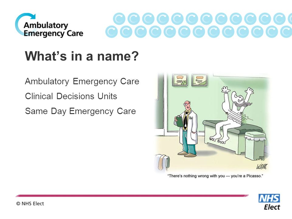 What's in a name? Ambulatory Emergency Care Clinical Decisions Units Same Day Emergency Care