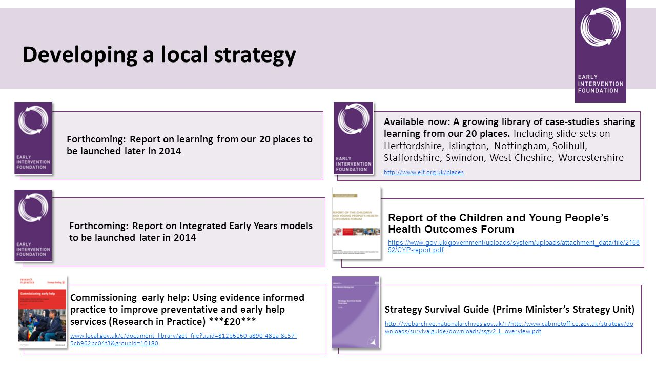 Developing a local strategy Forthcoming: Report on learning from our 20 places to be launched later in 2014 Available now: A growing library of case-studies sharing learning from our 20 places.