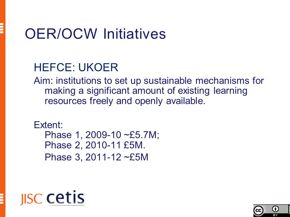 OER/OCW Initiatives HEFCE: UKOER Aim: institutions to set up sustainable mechanisms for making a significant amount of existing learning resources freely and openly available.