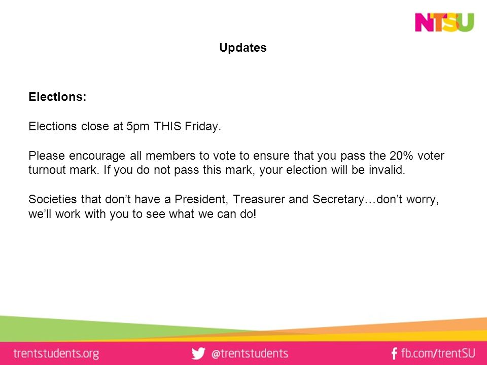 Updates Elections: Elections close at 5pm THIS Friday.