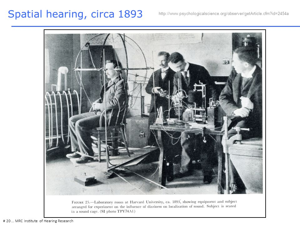 # 20 … MRC Institute of Hearing Research Spatial hearing, circa 1893 http://www.psychologicalscience.org/observer/getArticle.cfm?id=2454a