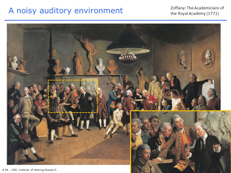 # 36 … MRC Institute of Hearing Research A noisy auditory environment Zoffany: The Academicians of the Royal Academy (1771)