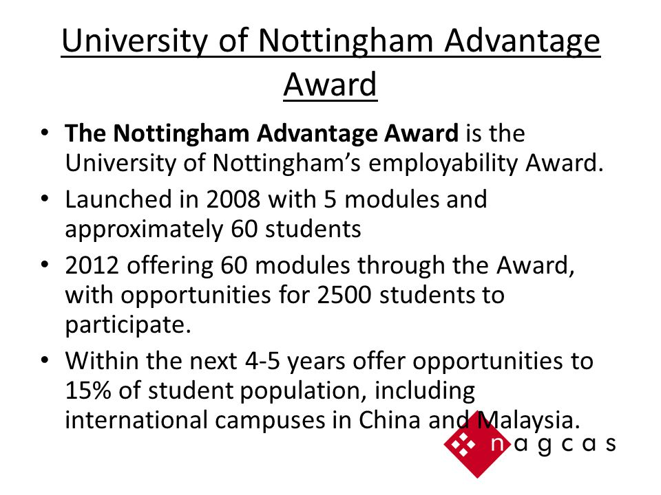 University of Nottingham Advantage Award The Nottingham Advantage Award is the University of Nottingham's employability Award.