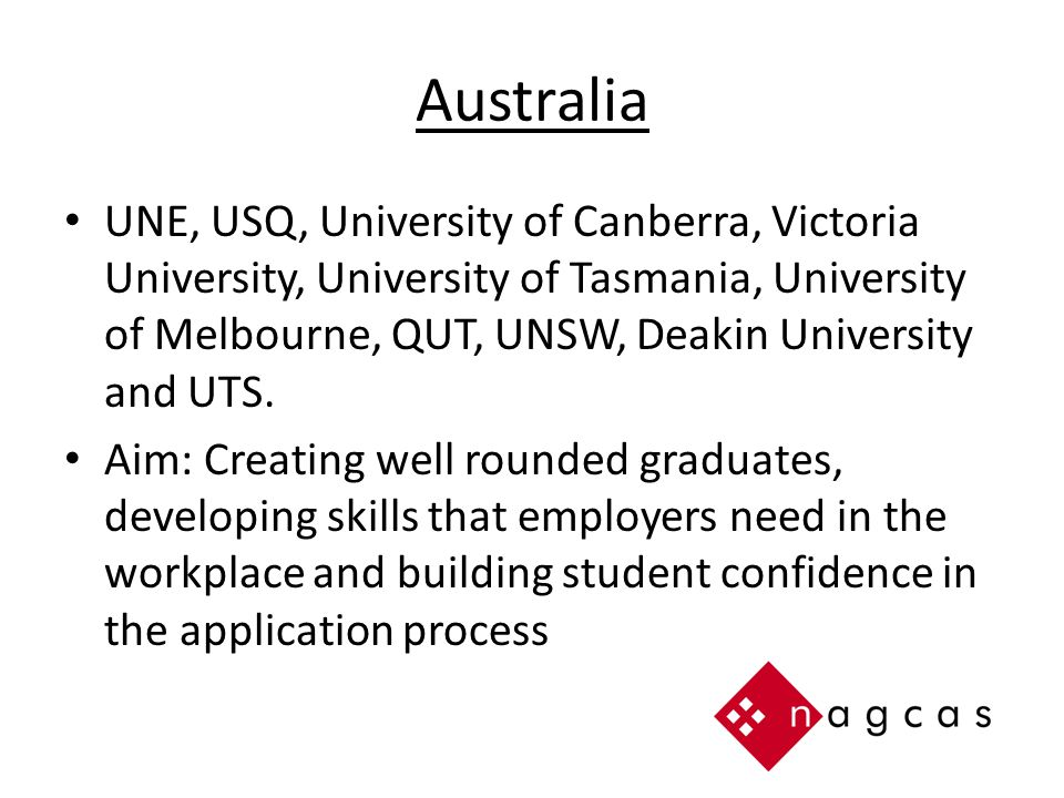Australia UNE, USQ, University of Canberra, Victoria University, University of Tasmania, University of Melbourne, QUT, UNSW, Deakin University and UTS.