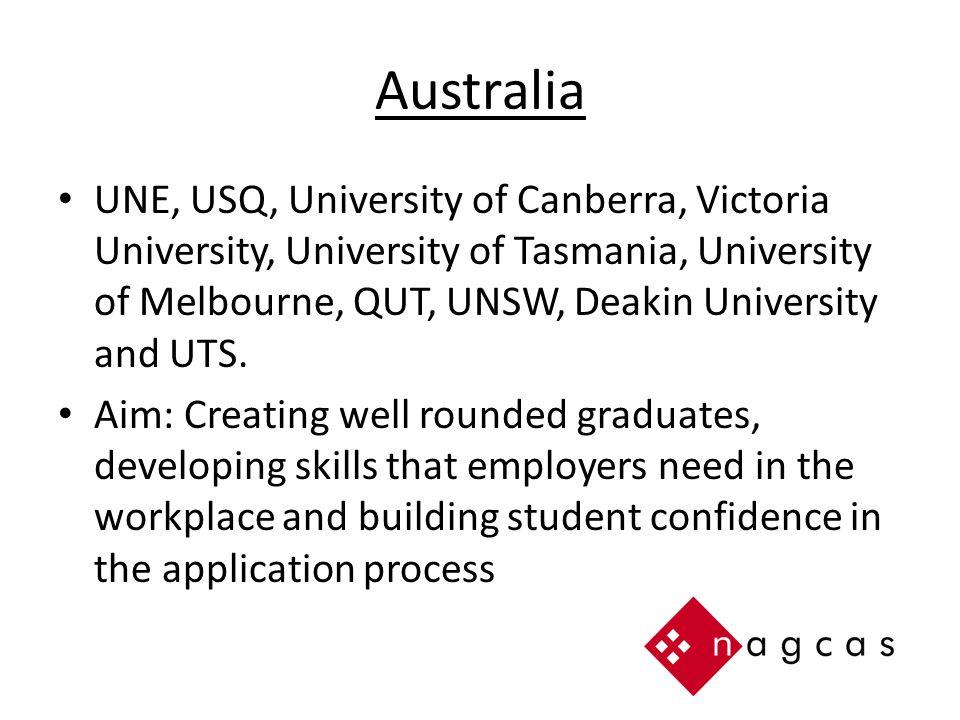 Australia UNE, USQ, University of Canberra, Victoria University, University of Tasmania, University of Melbourne, QUT, UNSW, Deakin University and UTS.