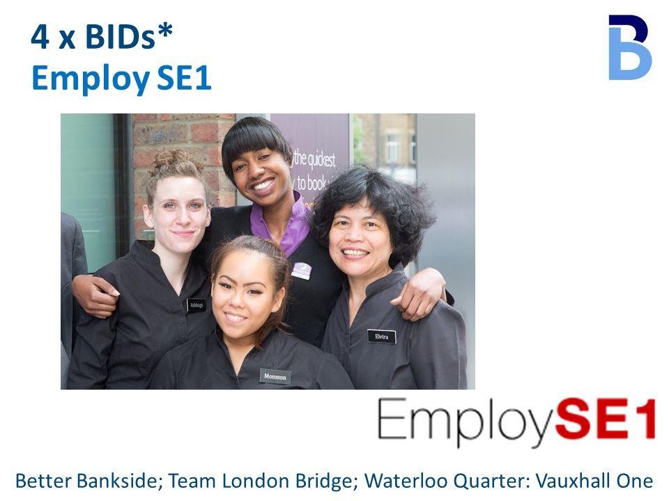4 x BIDs* Employ SE1 Better Bankside; Team London Bridge; Waterloo Quarter: Vauxhall One