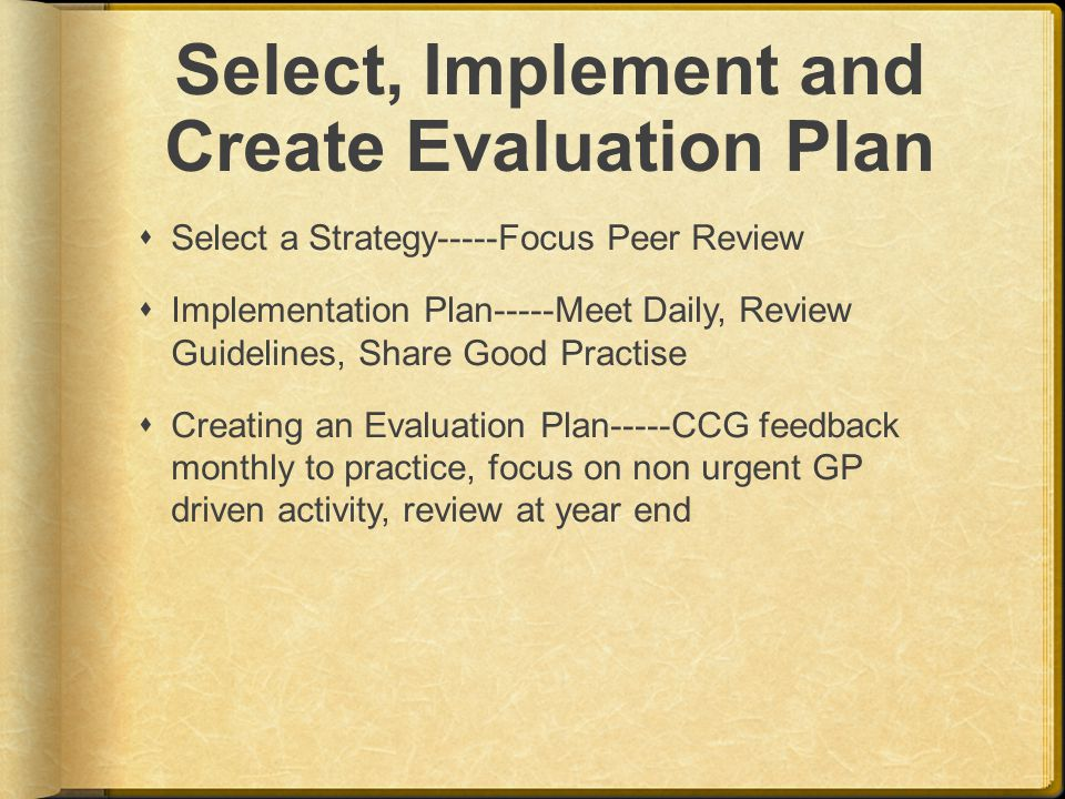 Select, Implement and Create Evaluation Plan  Select a Strategy-----Focus Peer Review  Implementation Plan-----Meet Daily, Review Guidelines, Share Good Practise  Creating an Evaluation Plan-----CCG feedback monthly to practice, focus on non urgent GP driven activity, review at year end