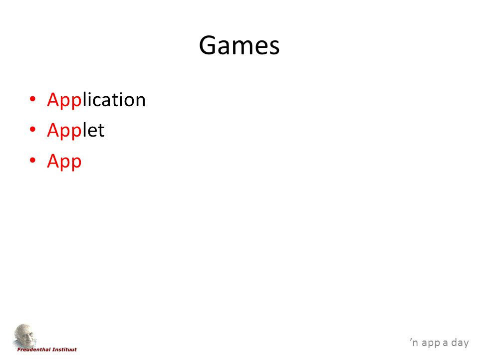 'n app a day Games Application Applet App