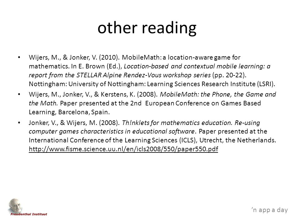 'n app a day other reading Wijers, M., & Jonker, V.
