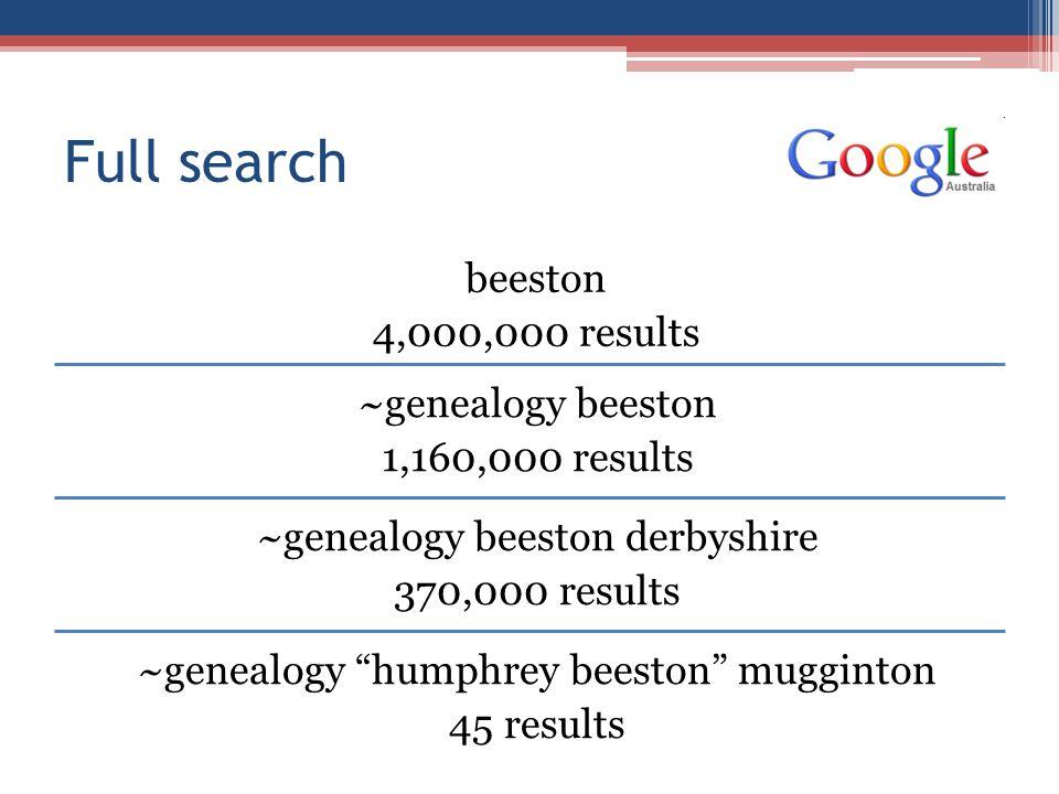 Full search beeston 4,000,000 results ~genealogy beeston 1,160,000 results ~genealogy beeston derbyshire 370,000 results ~genealogy humphrey beeston mugginton 45 results