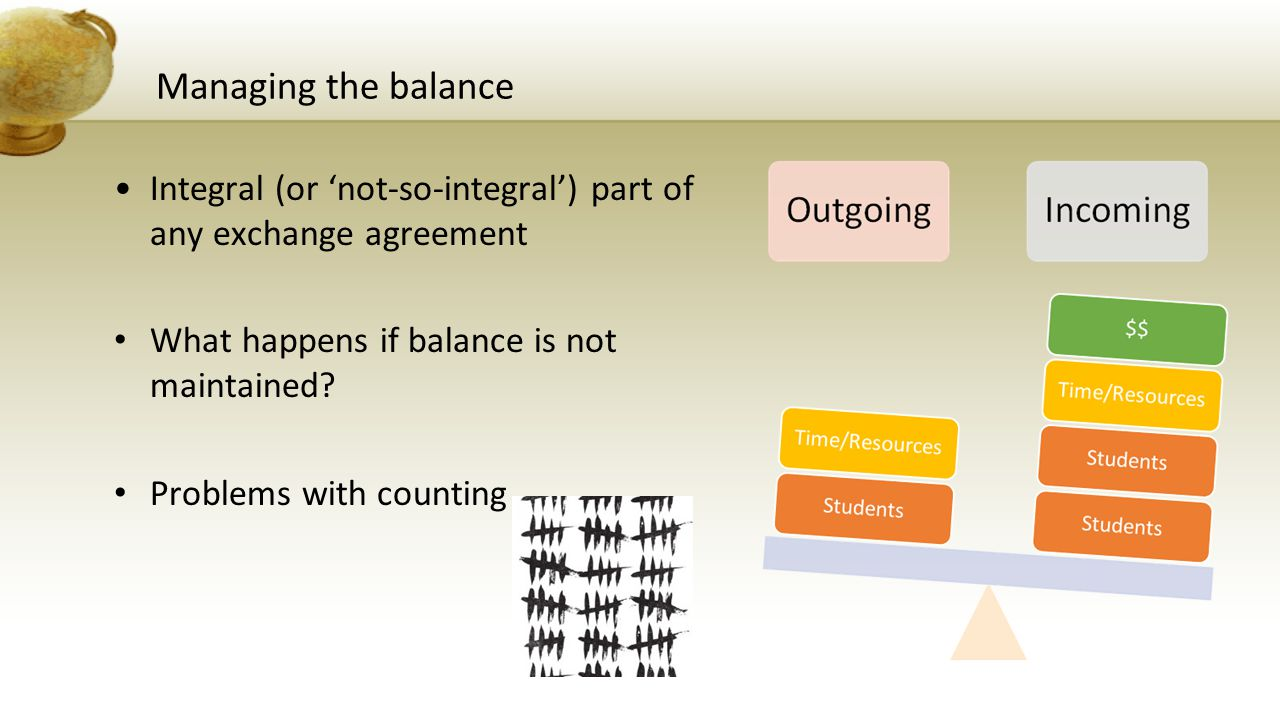Managing the balance Integral (or 'not-so-integral') part of any exchange agreement What happens if balance is not maintained.