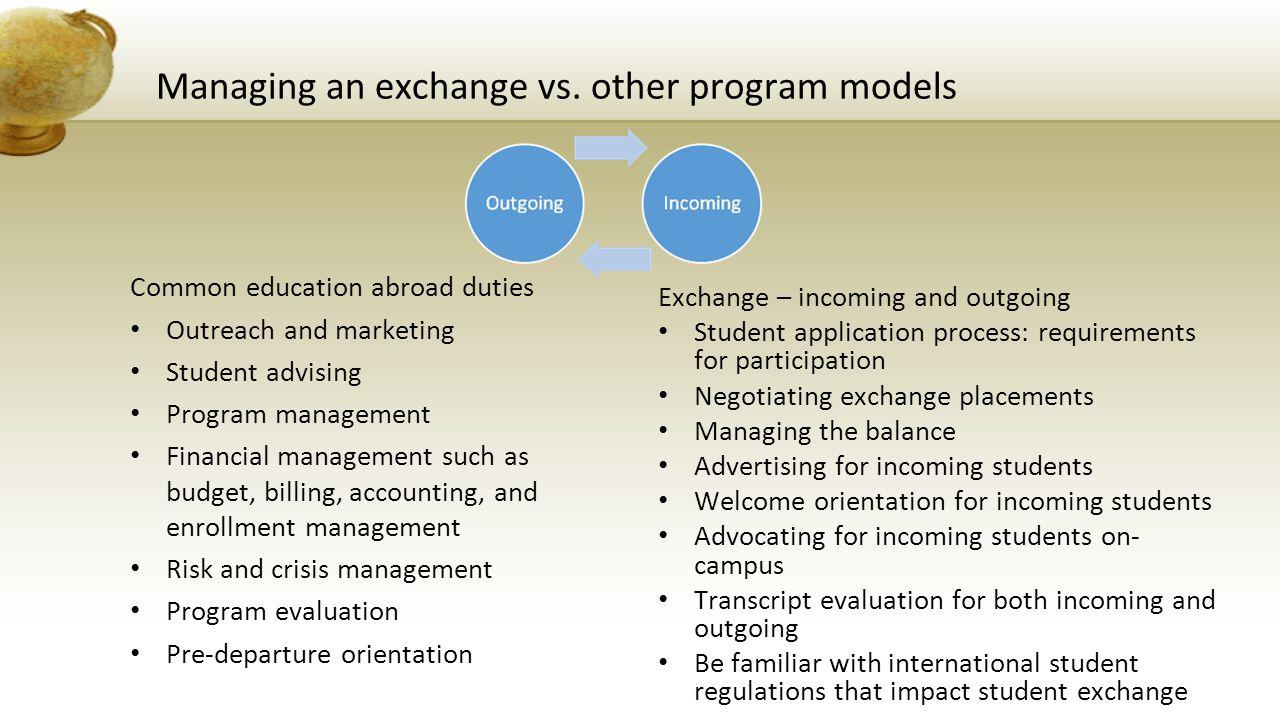 Managing an exchange vs.