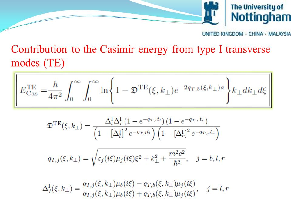 Contribution to the Casimir energy from type I transverse modes (TE)
