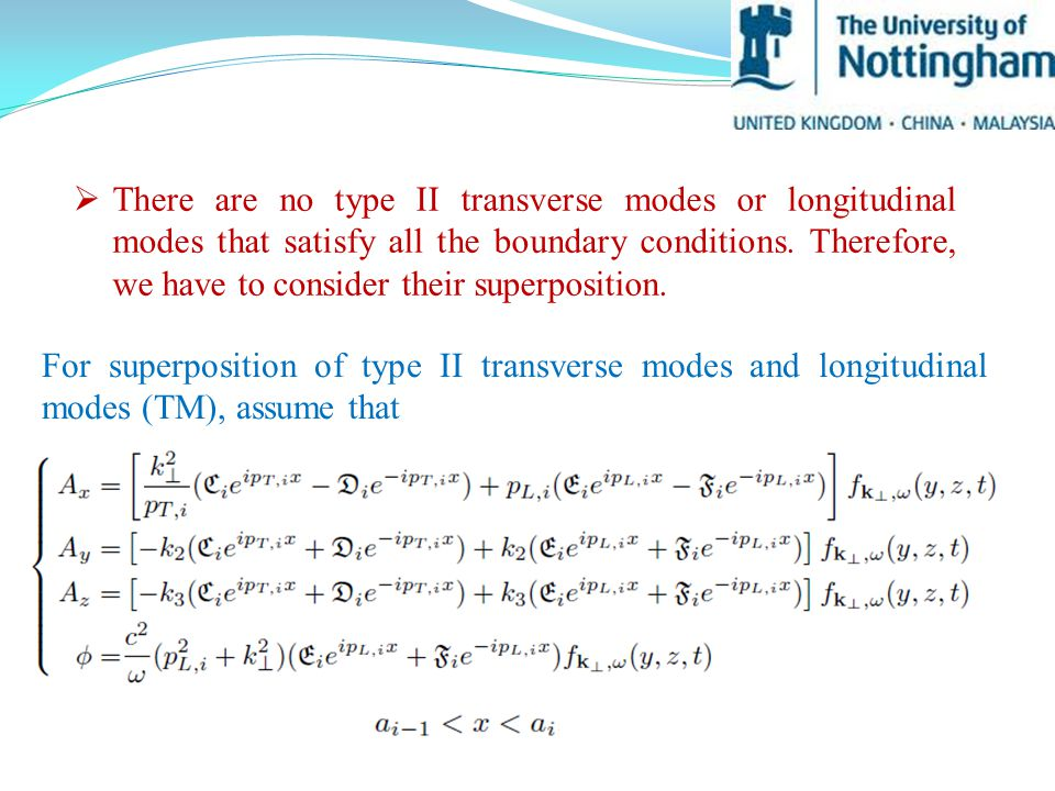  There are no type II transverse modes or longitudinal modes that satisfy all the boundary conditions.
