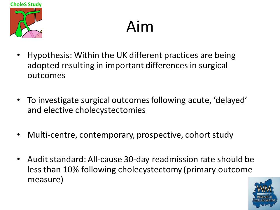 Aim Hypothesis: Within the UK different practices are being adopted resulting in important differences in surgical outcomes To investigate surgical outcomes following acute, 'delayed' and elective cholecystectomies Multi-centre, contemporary, prospective, cohort study Audit standard: All-cause 30-day readmission rate should be less than 10% following cholecystectomy (primary outcome measure)