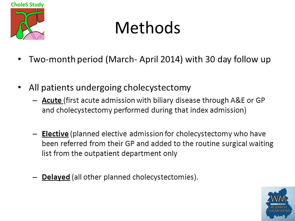 Methods Two-month period (March- April 2014) with 30 day follow up All patients undergoing cholecystectomy – Acute (first acute admission with biliary