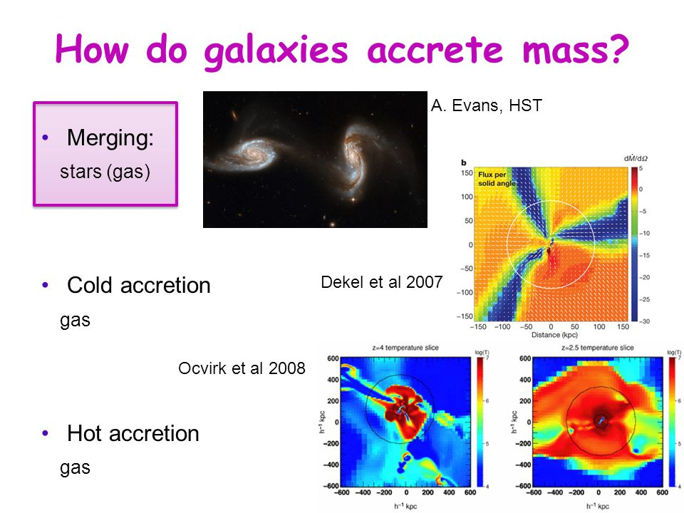 How do galaxies accrete mass. Merging: stars (gas) Cold accretion gas Hot accretion gas A.
