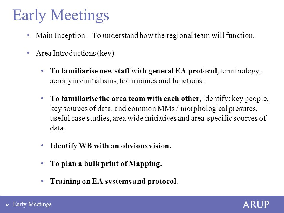 12 Early Meetings Main Inception – To understand how the regional team will function.