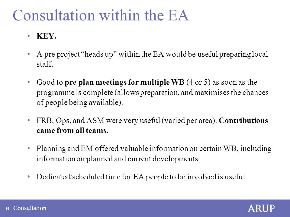 14 Consultation Consultation within the EA KEY.