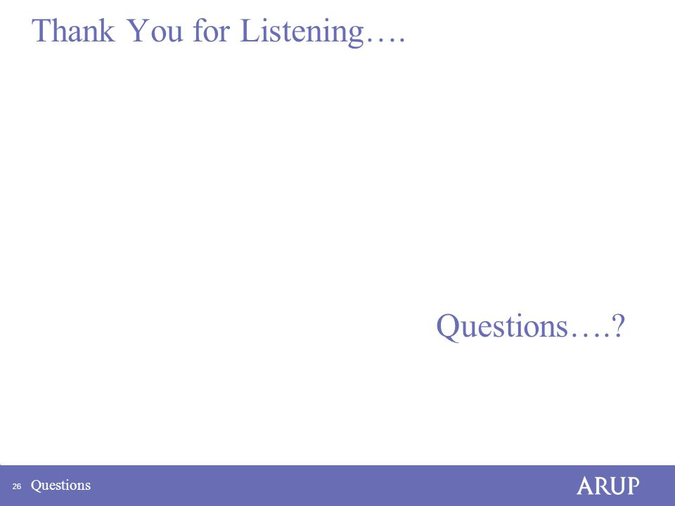 26 Thank You for Listening…. Questions….? Questions