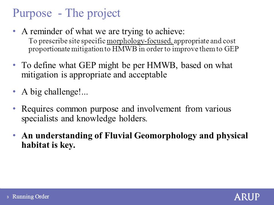 3 Purpose - The project A reminder of what we are trying to achieve: To prescribe site specific morphology-focused, appropriate and cost proportionate mitigation to HMWB in order to improve them to GEP To define what GEP might be per HMWB, based on what mitigation is appropriate and acceptable A big challenge!...