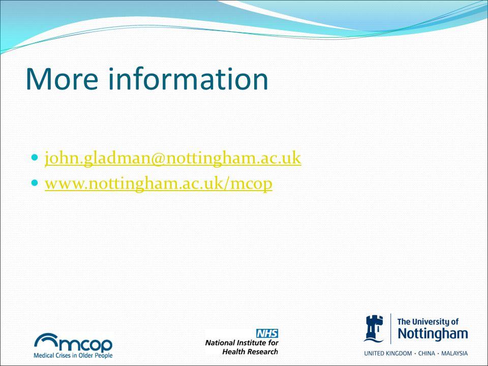 More information john.gladman@nottingham.ac.uk www.nottingham.ac.uk/mcop