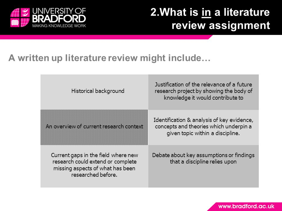 2.What is in a literature review assignment A written up literature review might include… Historical background Justification of the relevance of a future research project by showing the body of knowledge it would contribute to An overview of current research context Identification & analysis of key evidence, concepts and theories which underpin a given topic within a discipline.