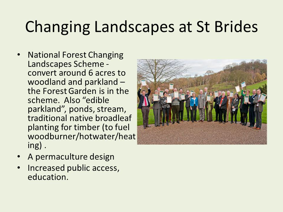 Changing Landscapes at St Brides National Forest Changing Landscapes Scheme - convert around 6 acres to woodland and parkland – the Forest Garden is i